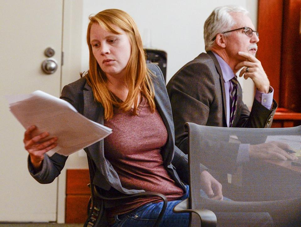 Picture of  Tilli Buchanan is seen in Judge Kara Pettit's Third District Courtroom with her attorney Randy Richards, Nov. 19, 2019.