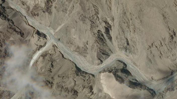 This handout satellite image taken on June 16, 2020, and released by 2020 Planet Labs, Inc. shows Galwan Valley, which lies between China's Tibet and India's Ladakh (AFP Photo/-)