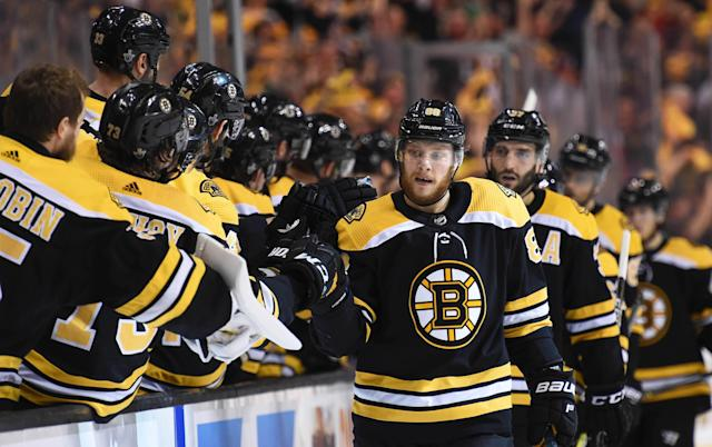 <p>David Pastrnak is already showing he has taken his game to another level in his fifth NHL season.</p>