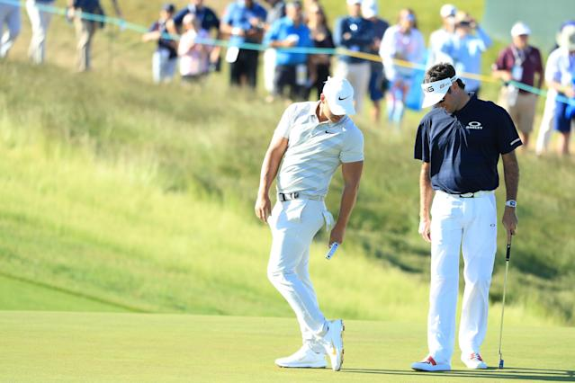 "<div class=""caption""> Koepka shows off to Bubba Watson a pair of shoes Padron made for him during the 2018 U.S. Open at Shinnecock Hills. </div> <cite class=""credit"">Andrew Redington/Getty Images</cite>"