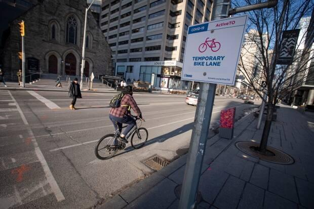 Toronto quickly installed temporary bike lanes on major downtown roads, including Bloor Street, soon after launching the ActiveTO program last spring.