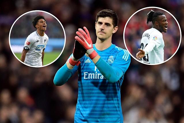 Thibaut Courtois left the Premier League in the summer, while Reiss Nelson (left) and Michy Bathshuayi (right) moved to Europe on loan