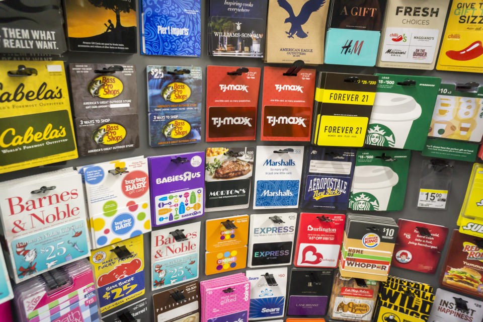 A selection of gift cards in a store in New York on Tuesday, March 8, 2016. (Photo by Richard Levine/Corbis via Getty Images)