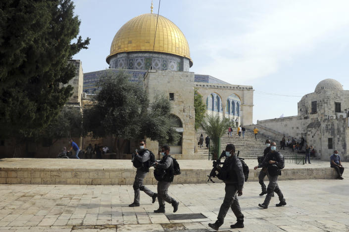 Israeli police patrol the Al Aqsa mosque complex in the Old City of Jerusalem before Palestinians protested against French President Emmanuel Macron and the publication of caricatures of the Muslim Prophet Muhammad after Friday prayers on Oct. 30, 2020. (AP Photo/Mahmoud Illean)