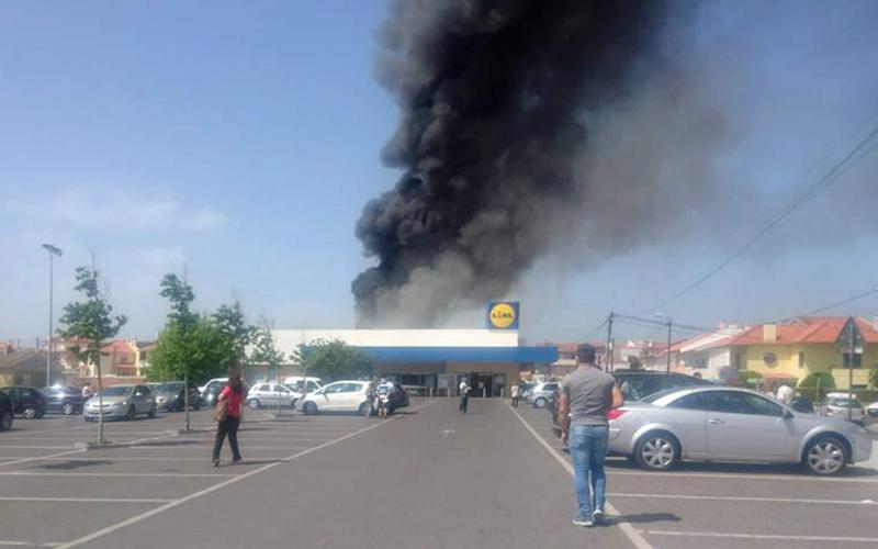The Lidl supermarket where a plane crashed on Monday - PA