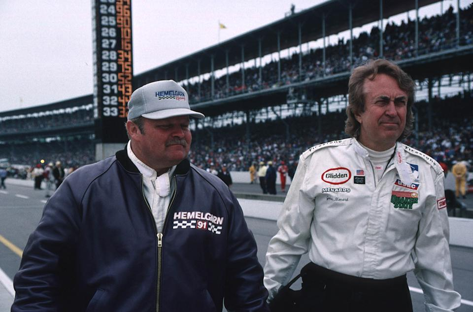 <em>John Menard on the starting grid before the 1996 Indy 500 with fellow team owner Ron Hemelgarn, who won the race with driver Buddy Lazier (IndyCar).</em>