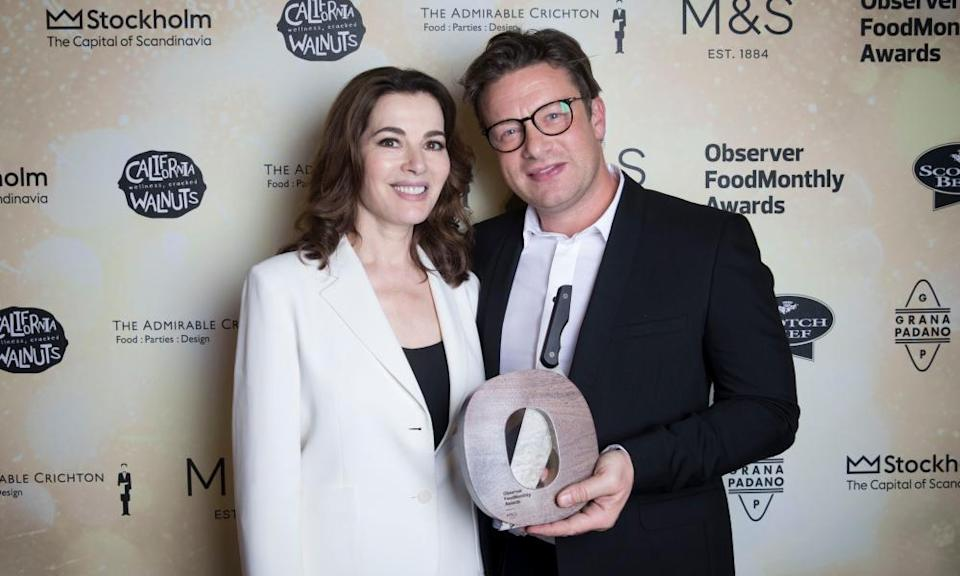 Nigella Lawson and Jamie Oliver at the OFM Awards in 2017.