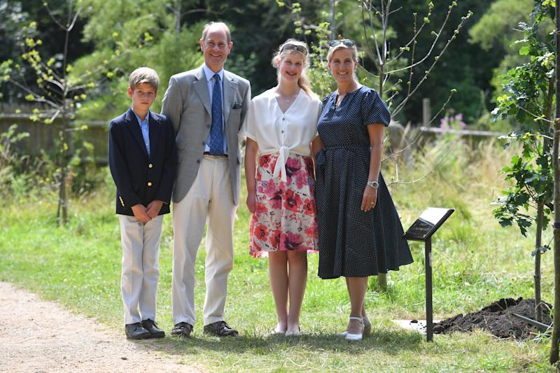 The Earl and Countess of Wessex, with their children, Lady Louise and James, Viscount Severn during a visit to Bear Wood at Wild Place Project in Bristol.