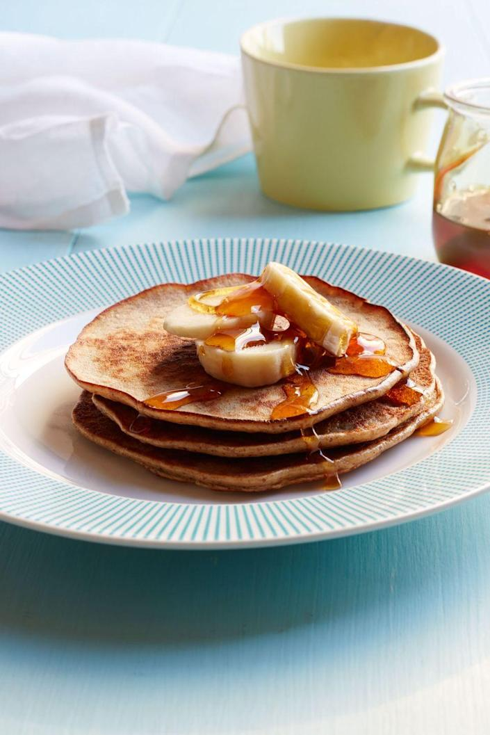 """<p>With only three ingredients, these flapjacks couldn't be easier.</p><p><strong><em><a href=""""https://www.womansday.com/food-recipes/food-drinks/recipes/a53599/banana-and-almond-butter-pancakes/"""" rel=""""nofollow noopener"""" target=""""_blank"""" data-ylk=""""slk:Get the Banana and Almond Butter Pancakes recipe"""" class=""""link rapid-noclick-resp"""">Get the Banana and Almond Butter Pancakes recipe</a>.</em></strong></p>"""