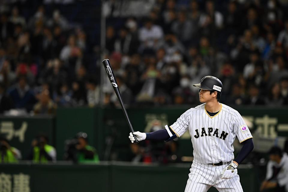 Shohei Ohtani at bat during the international friendly match between Japan and Mexico at the Tokyo Dome on November 10, 2016 in Tokyo, Japan. (Getty Images)
