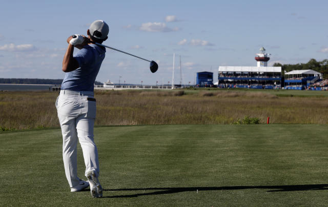 C.T. Pan tees of on 18 during the final round of the RBC Heritage golf tournament at Harbour Town Golf Links on Hilton Head Island, S.C., Sunday, April 21, 2019. Pan won with a 12-under par for his first PGA victory. (AP Photo/Mic Smith)