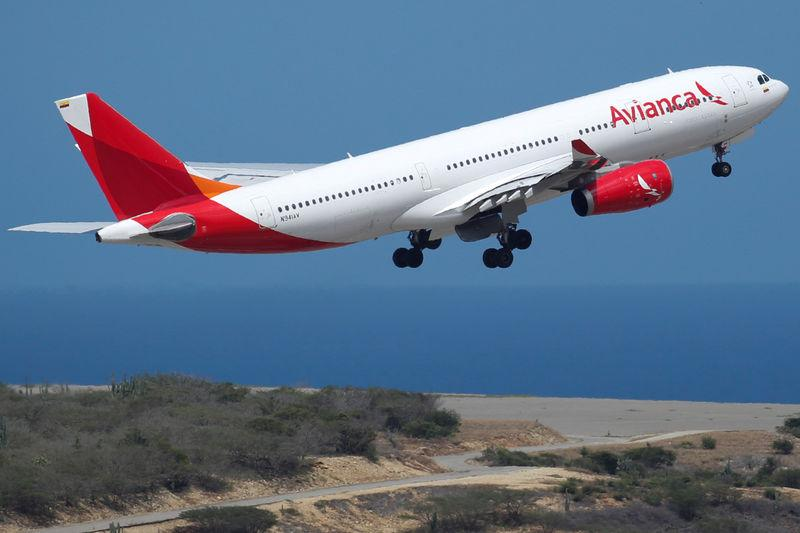 FILE PHOTO: An Airbus A330 of Avianca airline takes off at the Simon Bolivar airport in Caracas