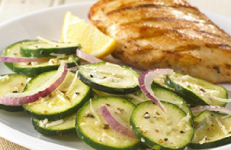 """<p>Zucchini is a versatile veggie that can be cooked on the grill, turned into noodles or served in a salad, like it is in this recipe. Toss it with red onion and parmesan cheese for a <a href=""""https://www.thedailymeal.com/best-recipes/no-cook-barbecue-sides-gallery?referrer=yahoo&category=beauty_food&include_utm=1&utm_medium=referral&utm_source=yahoo&utm_campaign=feed"""" rel=""""nofollow noopener"""" target=""""_blank"""" data-ylk=""""slk:quick and easy no-cook side"""" class=""""link rapid-noclick-resp"""">quick and easy no-cook side</a>.</p> <p><a href=""""https://www.thedailymeal.com/best-recipes/summer-zucchini-salad?referrer=yahoo&category=beauty_food&include_utm=1&utm_medium=referral&utm_source=yahoo&utm_campaign=feed"""" rel=""""nofollow noopener"""" target=""""_blank"""" data-ylk=""""slk:For the Summer Zucchini Salad recipe, click here."""" class=""""link rapid-noclick-resp"""">For the Summer Zucchini Salad recipe, click here.</a></p>"""