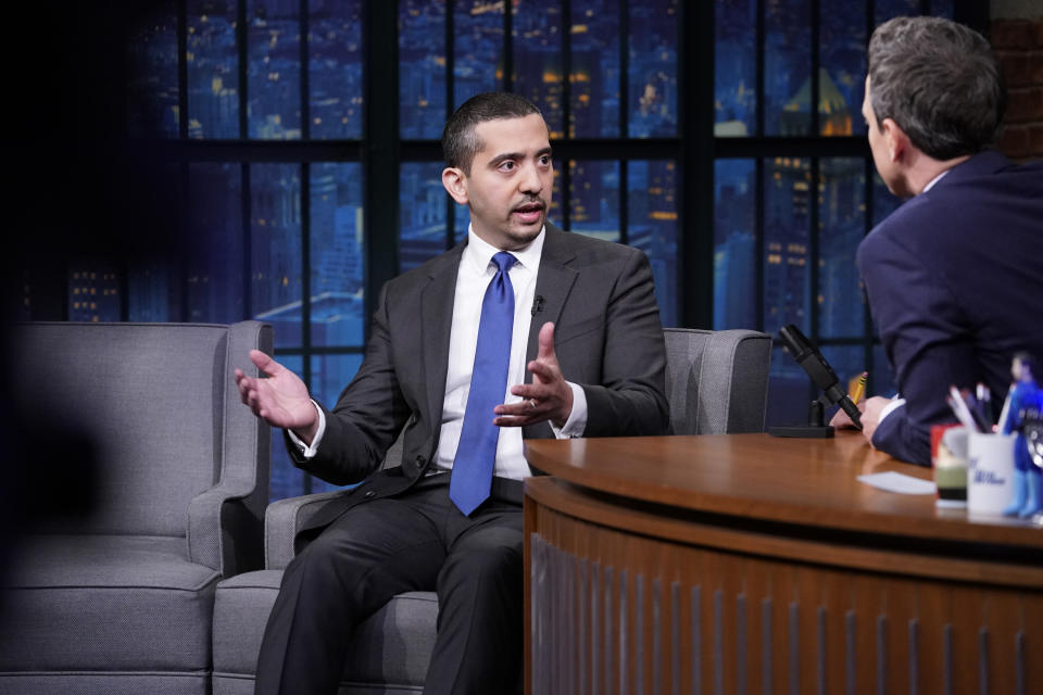 """Journalist Mehdi Hasan (pictured during a 2018 appearance on """"Late Night with Seth Myers"""") says a Southwest flight attendant mistreated his wife. (Photo: Lloyd Bishop/NBCU Photo Bank/NBCUniversal via Getty Images)"""