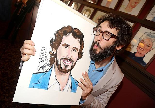 <p>Groban definitely approved of the caricature of him that New York City's iconic Sardi's restaurant unveiled and hung on its wall. His portrait will be displayed alongside hundreds of others, from Lucille Ball to Kermit the Frog. (Photo: Bruce Glikas/FilmMagic) </p>