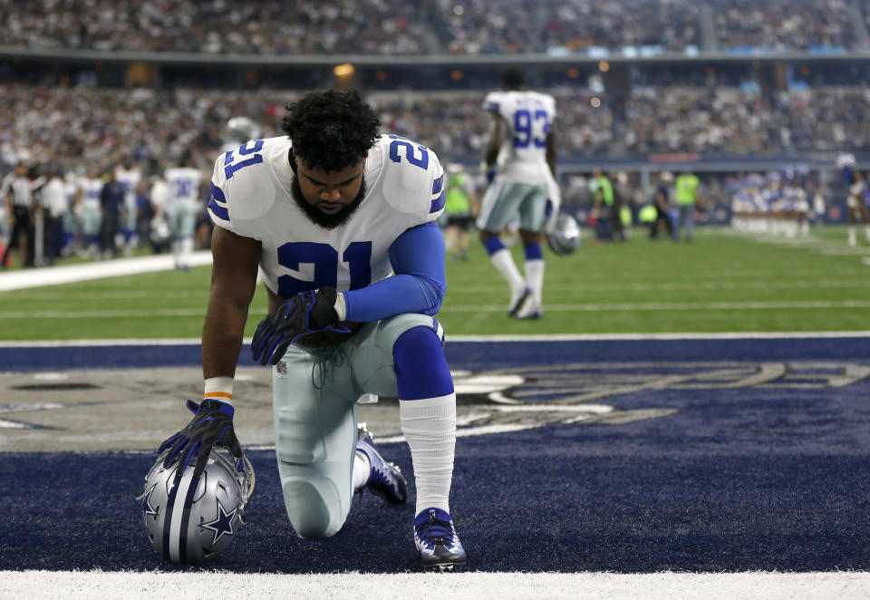 Ezekiel Elliott is scheduled to return to practice with the Cowboys on Wednesday. (AP)