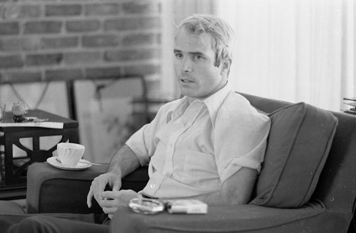 Then-U.S. Navy Lt. Cmdr. John McCain is interviewed about his experiences as a prisoner of war during the war in Vietnam on April 24, 1973.