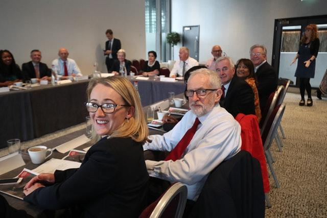 Labour leader Jeremy Corbyn with members of his shadow cabinet in the Lowry Theatre in The Quays in Salford