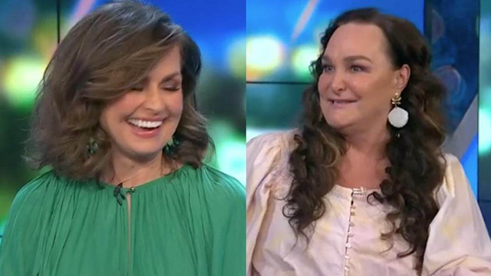 Lisa Wilkinson and co-host Kate Langbroek laugh on The Project