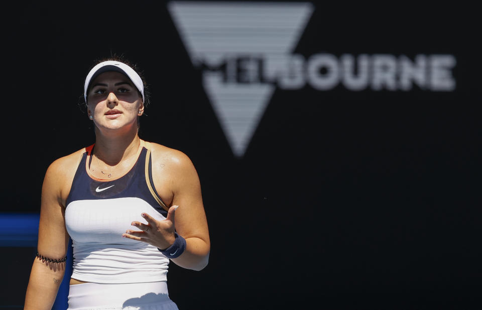 Canada's Bianca Andreescu reacts during her second round match against Taiwan's Hsieh Su-Wei at the Australian Open tennis championship in Melbourne, Australia, Wednesday, Feb. 10, 2021.(AP Photo/Rick Rycroft)