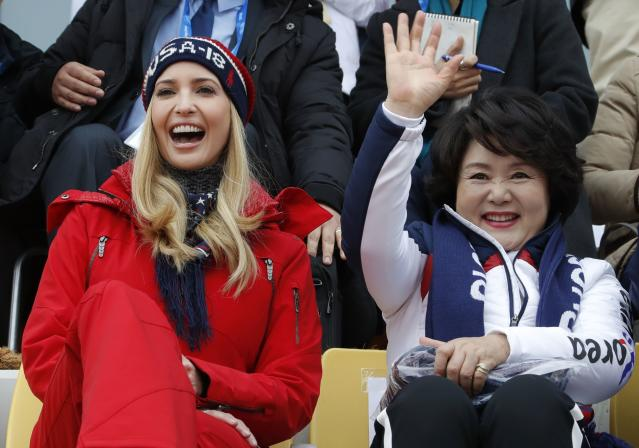 Snowboarding - Pyeongchang 2018 Winter Olympics - Men's Big Air Finals - Alpensia Ski Jumping Centre - Pyeongchang, South Korea - February 24, 2018 - U.S. President Donald Trump's daughter and senior White House adviser, Ivanka Trump reacts as Kim Jung-sook, wife of South Korea's President Moon Jae-in, waves from the stands. REUTERS/Eric Gaillard