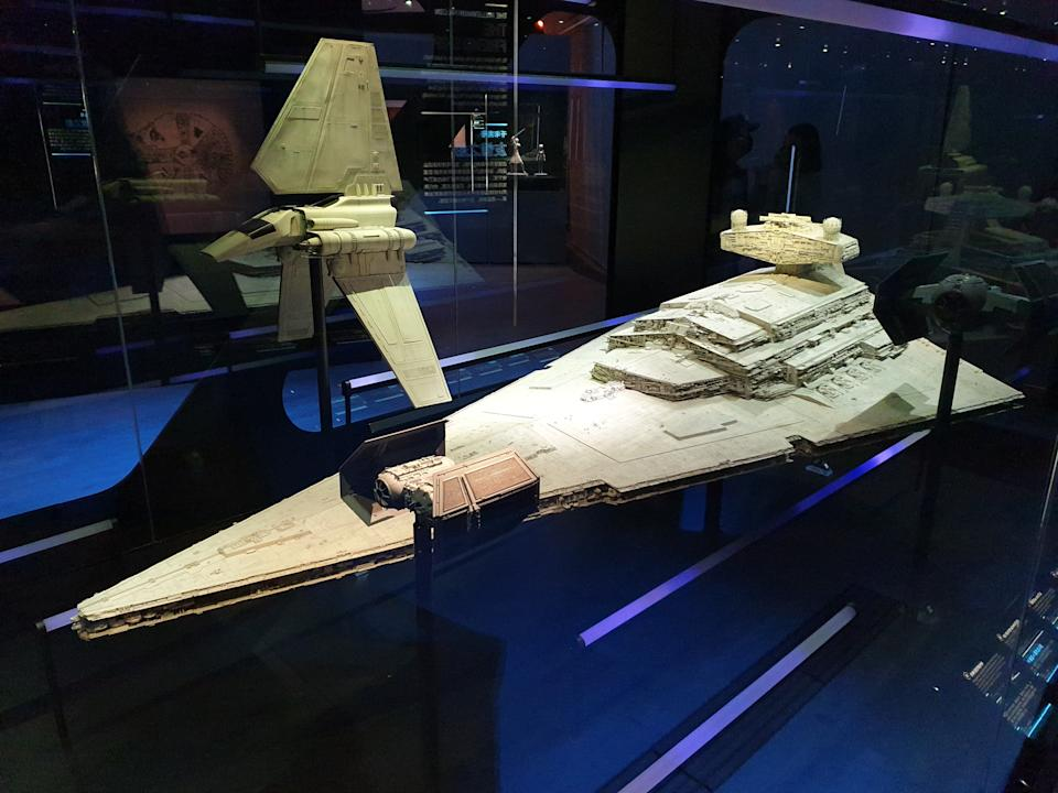 Model of Imperial Shuttle, Star Destroyer and TIE fighter at the Star Wars Identities exhibition in Singapore at the Artscience Museum. (Photo: Teng Yong Ping)