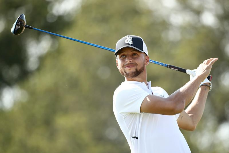 HAYWARD, CA - AUGUST 10: NBA player Stephen Curry of the Golden State Warriors tees off on the seventh hole during Round Two of the Ellie Mae Classic at TBC Stonebrae on August 10, 2018 in Hayward, California. (Photo by Ezra Shaw/Getty Images)