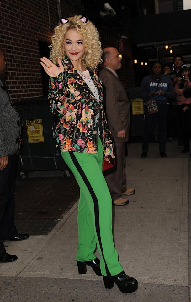 October 31, 2012: Rita Ora at the Ed Sullivan Theater in New York City for an appearance on 'The Late Show With David Letterman'. Mandatory Credit: Kristin Callahan/ACE/INFphoto.com Ref: infusny-220 |sp|U.S., UK, AUSTRALIA, NEW ZEALAND SALES ONLY.