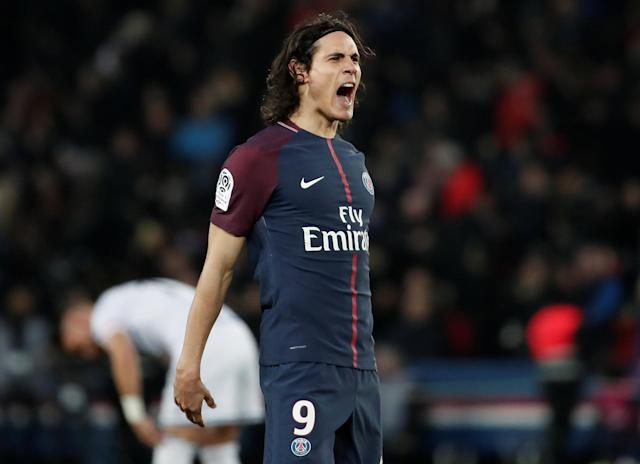 Soccer Football - Ligue 1 - Paris St Germain vs RC Strasbourg - Parc des Princes, Paris, France - February 17, 2018 Paris Saint-Germain's Edinson Cavani celebrates scoring their fifth goal REUTERS/Benoit Tessier