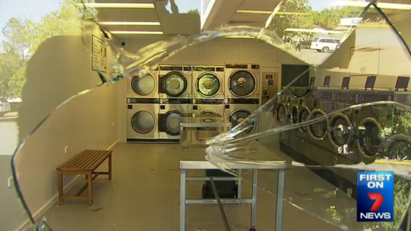 A laundromat was one of five Riverview business affected by the vandalism. Photo: 7 News