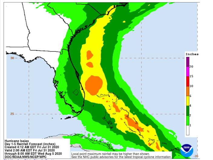 The expected rainfall from Hurricane Isaias as of 2 a.m. EDT on Friday.