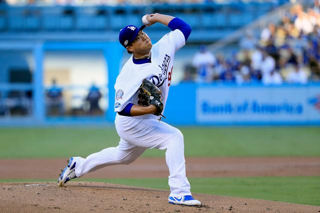 Hyun-jin Ryu threw seven shutout innings and the Dodgers defeated the Atlanta Braves, 5-0. (Getty Images)