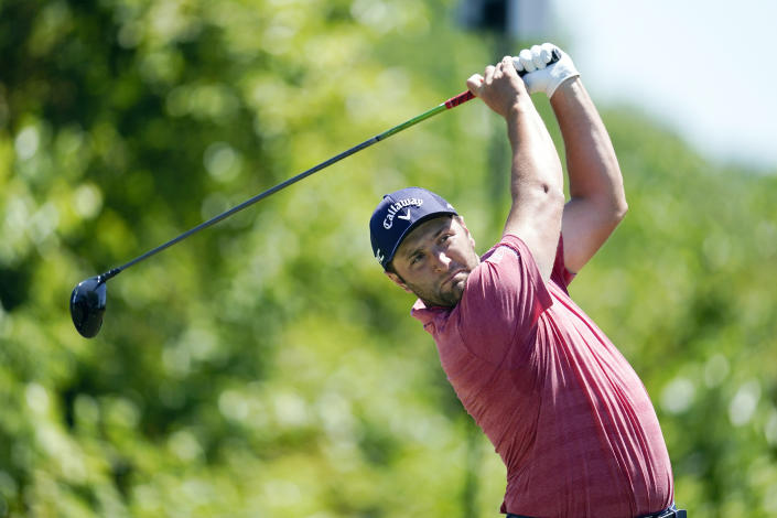 FILE - In this April 25, 2021, file photo, Jon Rahm, of Spain, hits off the second tee during the final round of the PGA Zurich Classic golf tournament at TPC Louisiana in Avondale, La. (AP Photo/Gerald Herbert, File)
