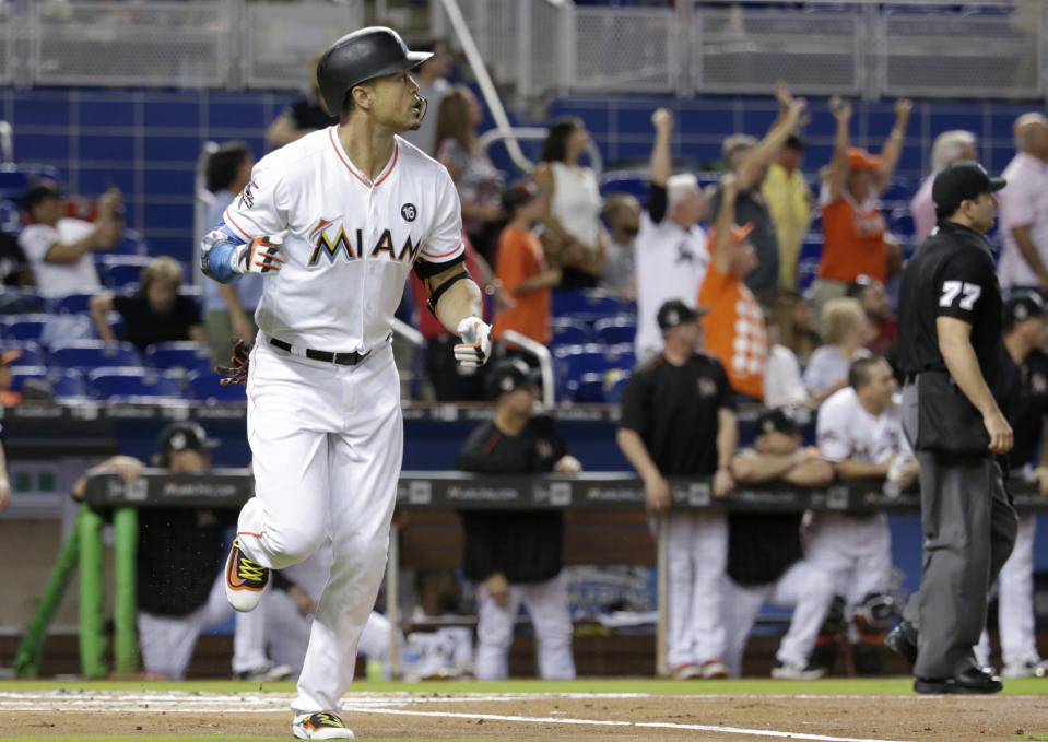 It's time for the Miami Marlins to move Giancarlo Stanton. (AP Photo/Lynne Sladky)