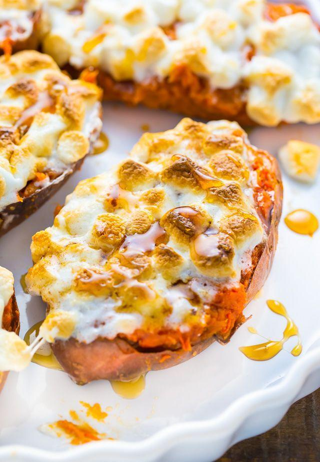 """<p>Make sure you keep a close eye on these skins. This blogger notes they go from broiled to burned <em>very</em> quickly.</p><p><strong>Get the recipe at <a href=""""https://bakerbynature.com/toasted-marshmallow-twice-baked-sweet-potatoes/"""" rel=""""nofollow noopener"""" target=""""_blank"""" data-ylk=""""slk:Half Baked Harvest"""" class=""""link rapid-noclick-resp"""">Half Baked Harvest</a>.</strong></p>"""