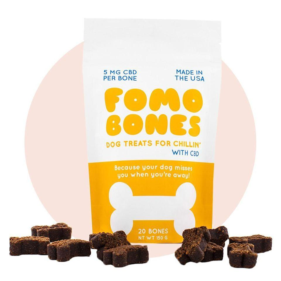 """<p><strong>FOMO Bones</strong></p><p>fomobones.com</p><p><strong>$29.00</strong></p><p><a href=""""https://go.redirectingat.com?id=74968X1596630&url=https%3A%2F%2Fwww.fomobones.com%2Fcbd-dog-treats%2F&sref=https%3A%2F%2Fwww.bestproducts.com%2Flifestyle%2Fg34449251%2Fbest-of-the-best-2020%2F"""" rel=""""nofollow noopener"""" target=""""_blank"""" data-ylk=""""slk:Shop Now"""" class=""""link rapid-noclick-resp"""">Shop Now</a></p><p>We highly recommend these calming dog treats. Consider weaving the CBD-infused <a href=""""https://www.bestproducts.com/lifestyle/pets/a33265917/fomo-bones-review/"""" rel=""""nofollow noopener"""" target=""""_blank"""" data-ylk=""""slk:FOMO Bones"""" class=""""link rapid-noclick-resp"""">FOMO Bones</a> into your pup's diet if he or she seems anxious or uneasy, especially right before bedtime.</p>"""