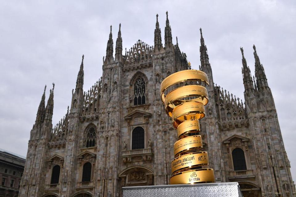 MILANO ITALY  OCTOBER 25 Trofeo Senza Fine  Duomo di Milano  Milan Cathedral  Trophy  during the 103rd Giro dItalia 2020 Stage 21 a 157km Individual time trial from Cernusco sul Naviglio to Milano  ITT  girodiitalia  Giro  on October 25 2020 in Milano Italy Photo by Stuart FranklinGetty Images