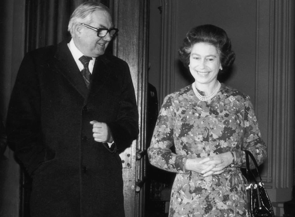 James Callaghan and the Queen share a joke (Picture: PA)
