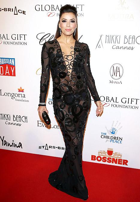 Eva Longoria Risks Another Wardrobe Malfunction in Sheer Black Dress With Plunging Neckline: Picture
