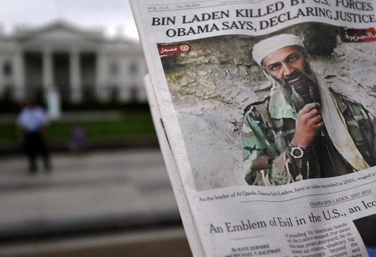 A newspaper reports on the death of Al-Qaeda leader Osama bin Laden in Washington, DC, on May 2, 2011