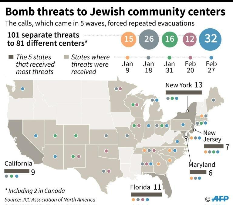 Map and details of the bomb threats to Jewish community centers across the United States since January 9
