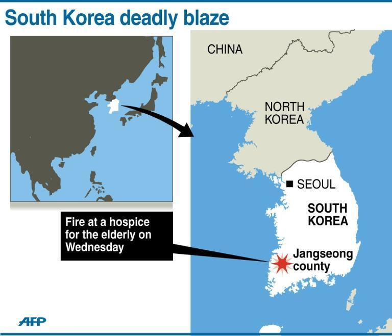 Map locating Jangseong county in South Korea where 21 people were killed in a fire at a hospice for the elderly on Wednesday