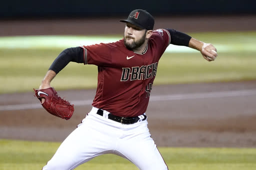 Arizona Diamondbacks starting pitcher Alex Young throws during the first inning of a baseball game against the Texas Rangers, Wednesday, Sept. 23, 2020, in Phoenix. (AP Photo/Matt York)