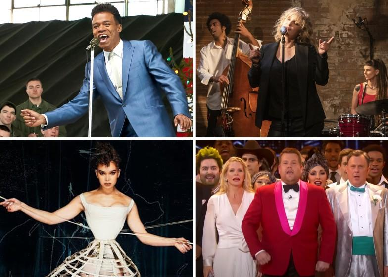 """Singin' it and bringin' it: (Clockwise from top left) Leroy McClain in """"The Marvelous Mrs. Maisel""""; Damian Nueva Cortes, Joanna Kulig and Lada Obradovic in """"The Eddy""""; James Corden and cast of """"The 73rd Annual Tony Awards""""; Hailee Steinfeld in a music video for """"Dickinson."""""""