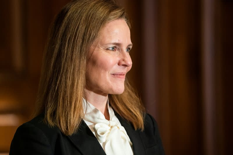 Judge Amy Coney Barrett meets with Republican Senator from Louisiana Bill Cassidy at the United States Capitol Building in Washington