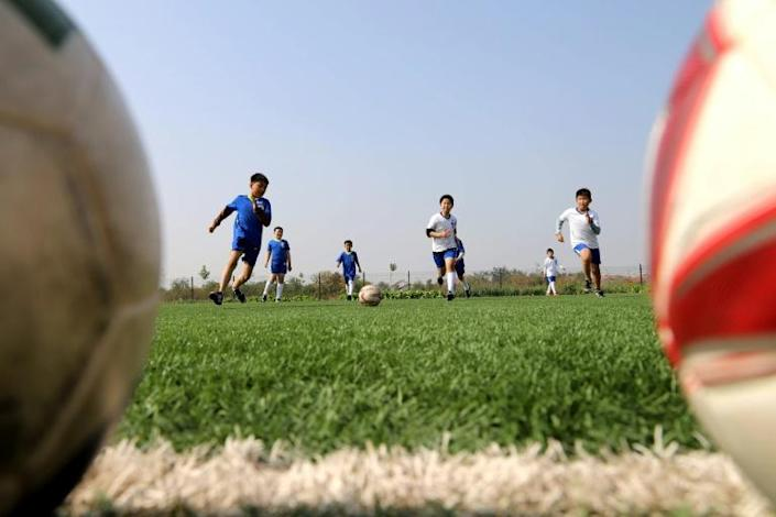 Young footballer at a school in Binzhou in eastern China's Shandong province