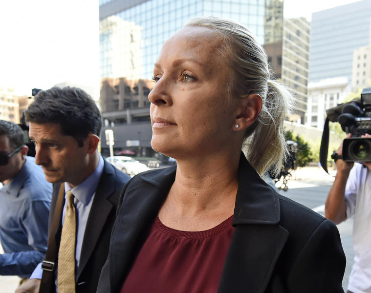 FILE - In this Aug. 23, 2018 file photo, Margaret Hunter, the wife of U.S. Rep. Duncan Hunter, R-Calif.,arrives for an arraignment hearing in San Diego. Federal prosecutors say Duncan Hunter illegally used campaign funds to finance romantic flings with a series of women, spending thousands of dollars on meals, drinks and vacations. Allegations about the married Republican congressman's affairs were outlined in a government court filing late Monday, June 24, 2019, connected to charges he and his wife misspent more than $200,000 on trips and personal expenses. (AP Photo/Denis Poroy, File)