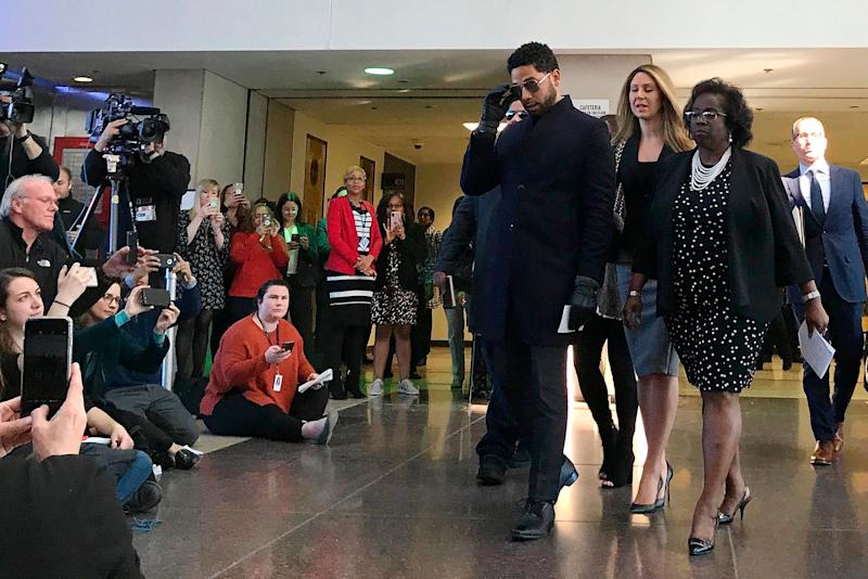 Jussie Smollett arrives a news conference after a hearing at the Leighton Criminal Court Building in Chicago on Tuesday. (Photo: Amanda Seitz/AP)