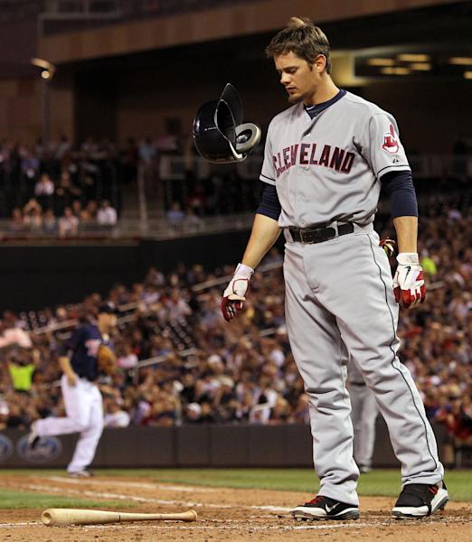 Cleveland Indians' Brent Lillibridge reacts after striking out against Minnesota Twins starting pitcher Samuel Deduno during the fifth inning of a baseball game, Monday, Sept. 10, 2012, in Minneapolis. The Twins won 7-2. (AP Photo/Genevieve Ross)