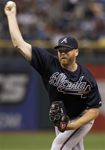 Atlanta Braves starting pitcher Tommy Hanson delivers in the first inning to the Tampa Bay Rays during an interleague baseball game, Friday, May 18, 2012, in St. Petersburg, Fla. (AP Photo/Chris O'Meara)